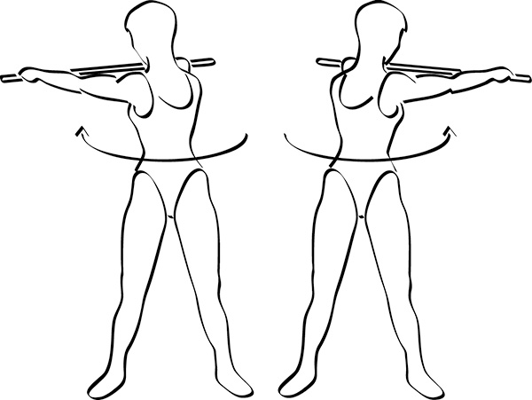 musculation abdominaux rotation baton debout