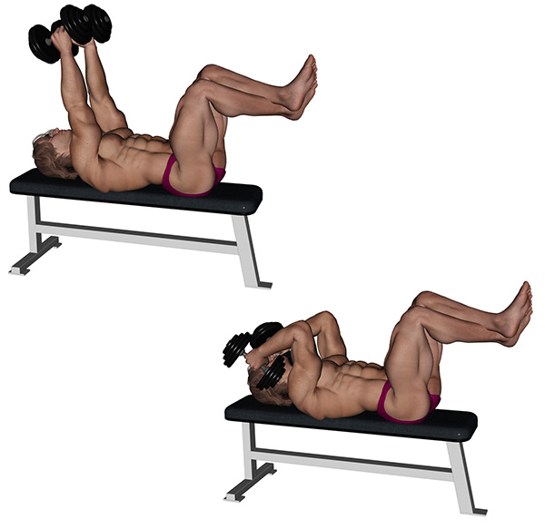 musculation triceps extension couche halteres